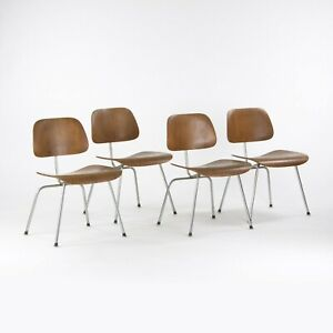 C. 1954 Herman Miller Eames DCM Dining Chair Metal Leg in Walnut Set of Four