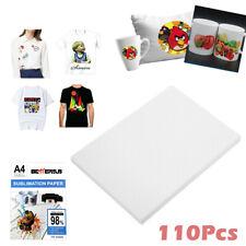110 Sheets A4 Dye Sublimation Paper Iron On Heat Transfer For Inkjet T Shirt Mug