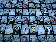 1 Yard Quilt Cotton Fabric - Camelot Nightmare Before Christmas Patch Gray