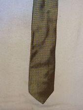 Used Mens Necktie- Harold Powell- 100% Silk- Gold & Blue Geometric Designs- USA