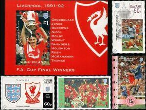 LIVERPOOL FC FA CUP Winners 1991-1992 Football Club Stamps (Ian Rush)