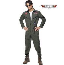 Mens Top Gun Flight Suit Aviator Glasses Uniform Pilot 80s Film Fancy Dress Medium