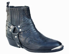 Mens Western Cowboy Ankle Harness Boots Genuine Black Leather Style 9192