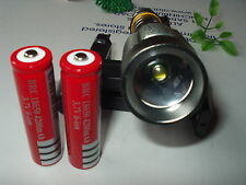 SacredFire Cree XML T6 1600Lm Zoomable Flashlight Torch w/ 2 Batteries & Charger