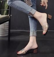 Retro Womens Transparent Block Heel Slipper Open Toe Casual Mules Shoes Sandals