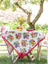 April Cornell Tablecloth Fruit Basket Collection NWT 100% Cotton Multi 36x36