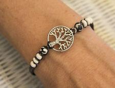 Bracelet arbre de vie tree of life métal argenté Ø 20mm noir perles blanche 1101