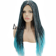 Anogol Descendants 2 Uma Cosplay Wig Costume Braided Synthetic Hair Long Blue
