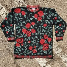 Willow Bay Sweater Womens Large Flowers Roses 90s Vintage 3/4 Sleeve Floral Soft