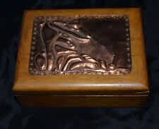 Vtg Wood Trinket Box Copper Embossed Lid SOMBRERO SIESTA SLEEPING MAN MEXICAN