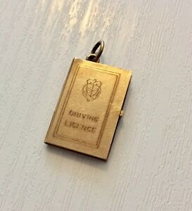 Nice Quirky Vintage Fully Hallmarked 9 Carat Gold Driving License Charm Pendant