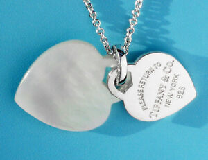 Return to Tiffany & Co Sterling Silver Mother of Pearl Two Hearts Chain Necklace