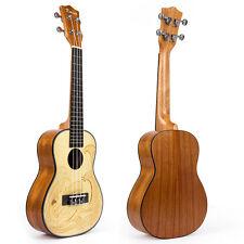 Kmise Spruce Concert Ukulele Hawaii GuitarUke Carved Surfing 23 Inch Mahogany