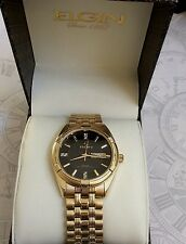 Elgin Diamond Men's Watch Business Style Black Round Date Dial Gold Stretch Band