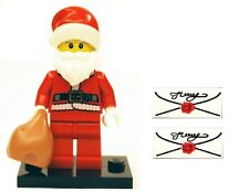 LEGO Santa Claus Father Christmas Minifigure & Stand Sack & 2 Letters Xmas Gift