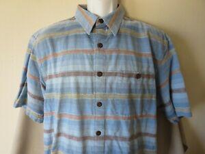 The Territory Ahead Men's Shirt Button Down Short Sleeve Blue Stripes Size XL
