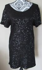 Victoria's Secret SuperModel Essentials Black Sequin Short Sleeve Dress, Size XS