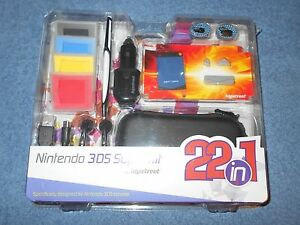 NINTENDO 3DS SUPER KIT 22 IN 1 CHARGER PROTECTOR STYLUS DECAL HIPSTREET - NEW