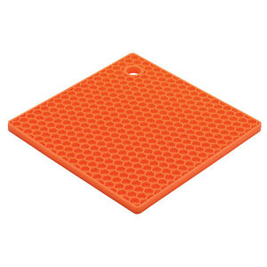 HIC Essentials 7 Inch Honeycomb Silicone Trivet, Cantaloupe