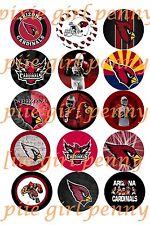 15 PRECUT Arizona Cardinals NFL Football bottle cap Images scrapbooking bows
