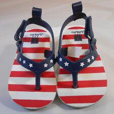 Carters Red White & Blue Flip Flops Girls or Boys Toddler Size 2