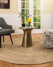 """9x9"""" Feet Round Reversible Braided Rag Rug Jute Floor Mat Handmade Floor Rugs"""