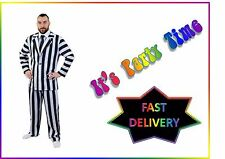 Mens Black White Suit Beetlejuice Fancy Dress Costume Outfit Halloween X Large