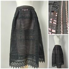 Baroque Black Cut Out 14 Midi Skirt Wedding Guest Party Cocktail Wiccan Gothic