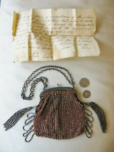 Antique Peach Crochet Silver French Steel Micro Bead Fringe Purse LETTER 1835