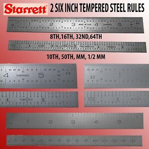 2 STARRETT 6 INCH MACHINIST  TEMPERED STEEL RULES WITH FOUR GRADUATIONS EACH-1