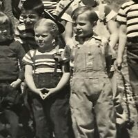 School Picture Photograph Picture Vintage 1940's Kids Wear Overalls County