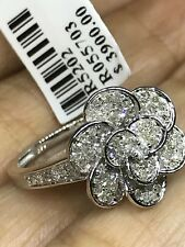14k SOLID REAL white GOLD FLOWER NATURAL DIAMOND RING .57 Ct 7 6 8 9