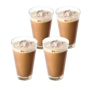Set of 4 Nescafé Dolce Gusto Ice Cappuccino Coffee Cup Cold Drink Iced Tea Glass