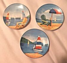 THREE NEW HANDPAINTED Small Plates of Summer/Beach -Very Pretty