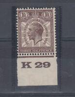 GB KGV 1929 1 1/2d Brown PUC K29 Control SG436 MNH J5390