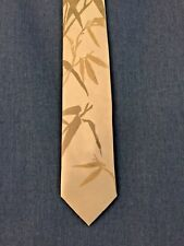 Beige Silk Tie With Bamboo Leaves Signed Joanna Alot Ciecholewski NWOT