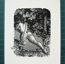 EX LIBRIS Bookplate Mark SEVERIN 178 Levy naked woman on tummy in forest erotic
