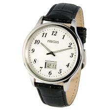 Elegante MARQUIS Herren Funkuhr (deutsches Funkwerk) Armbanduhr Leder 964.6016