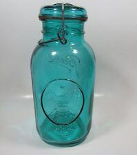 Vtg Ball Ideal Eagle Aqua Green Mason Half Gallon Canning Jar Wire Bale Glass