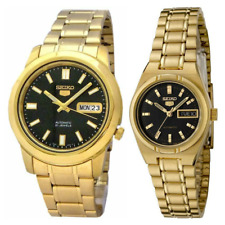 Seiko 5 Classic Black Dial Couple's Gold Plated Stainless Steel Watch Set