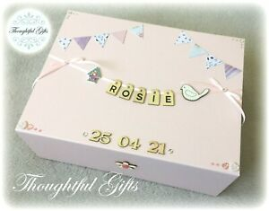 Personalised Large New Baby Boys Girls Keepsake/ Memory Box/ Christening Gift