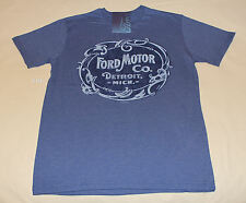 Ford Vintage Logo Mens Blue Marle Printed Short Sleeve T Shirt Size M New