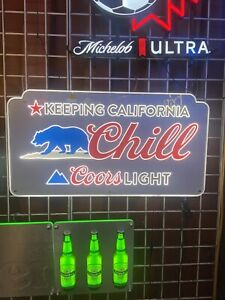 Very Rare Coors Light Keeping California Chill neon type led beer bar sign 30x16