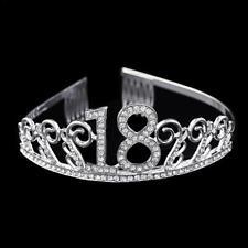 Anniversary Birthday 18th Silver Rhinestone Tiara Crown Headband Hair Accessorie