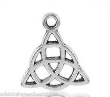 50 Amulette Triquetra Keltisch Dreiheitsknoten Charms Anhänger für Kette