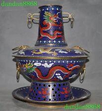 old china bronze Cloisonne Dragon Ancient Carbon -heating Fondue Hot pot Boiler