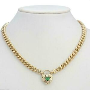 18K Yellow Gold GL Womens Solid Med Euro Curb Necklace & Emerald Heart 45cm