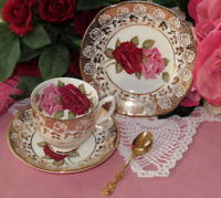 Red and Pink Rose gold Trio: Teacup, Saucer Side Plate Vintage made England Rare
