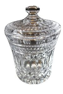 Vintage Bombay 24% lead Crystal  Biscuit Barrel Jar with lid Glass Marked NICE!!