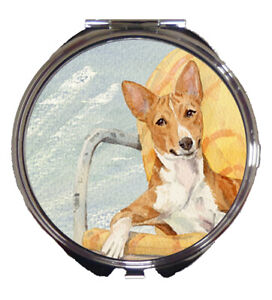 BASENJI DOG COMPACT MIRROR WATERCOLOUR PAINTING PRINT SANDRA COEN ARTIST